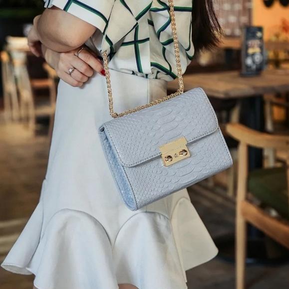 AnkarasBest Handbags - Alligator Crocodile Mini Shoulder Bag Blue